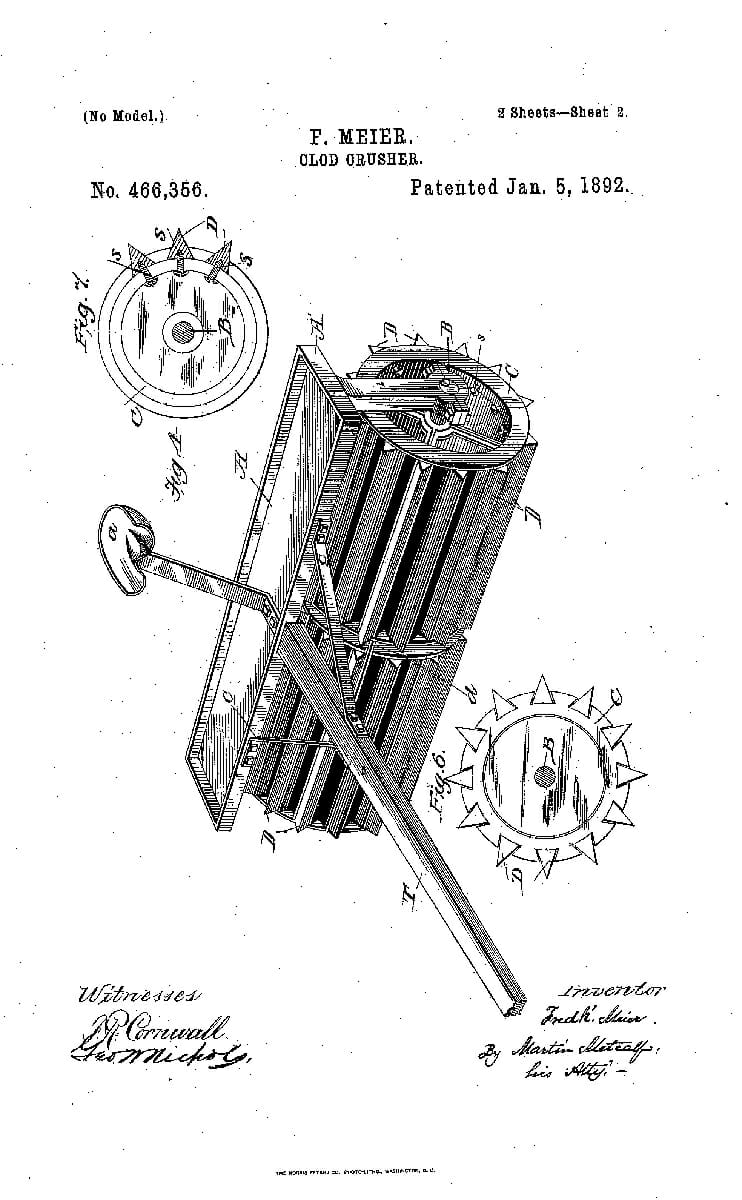 A Patent for a Clod Crusher, 1892.