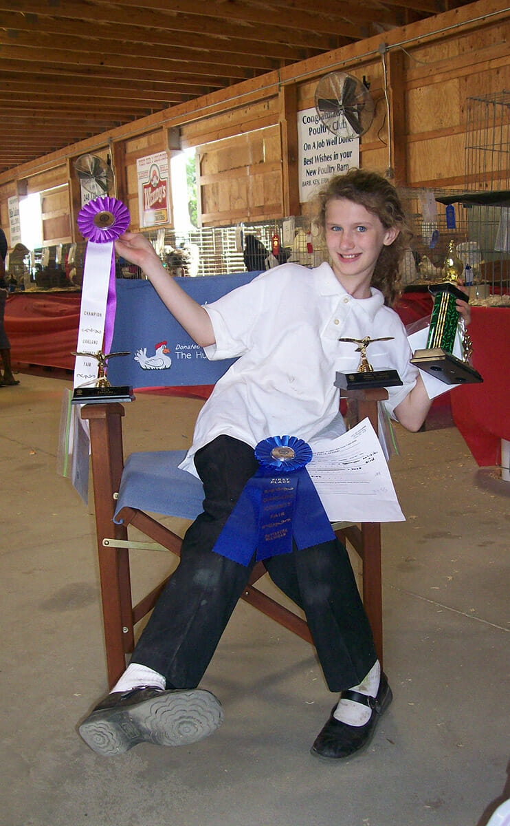 A young Alair, after success showing chickens.