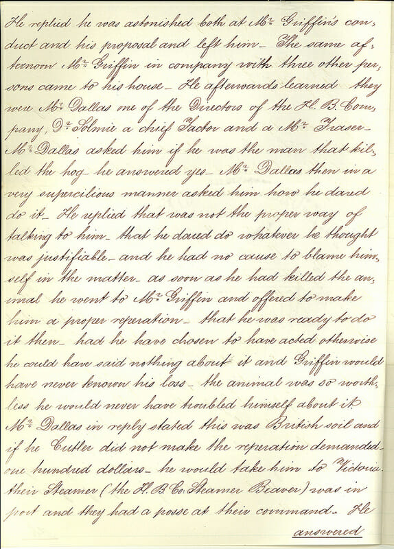 The affidavit of Lyman A. Cutlar, who instigated the Pig War.