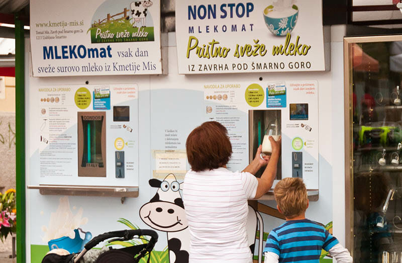Milking a Slovenian raw milk machine for all its work. Image by John Kroll via Flickr.