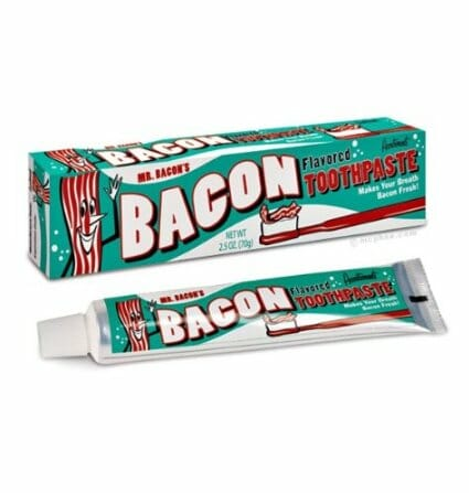 Bacon-flavored toothpaste. Write one reviewer on Amazon: 'It tastes and smells like dog food.'