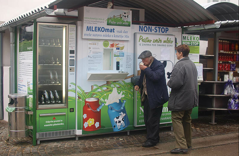 A raw milk vending machine in Slovenia