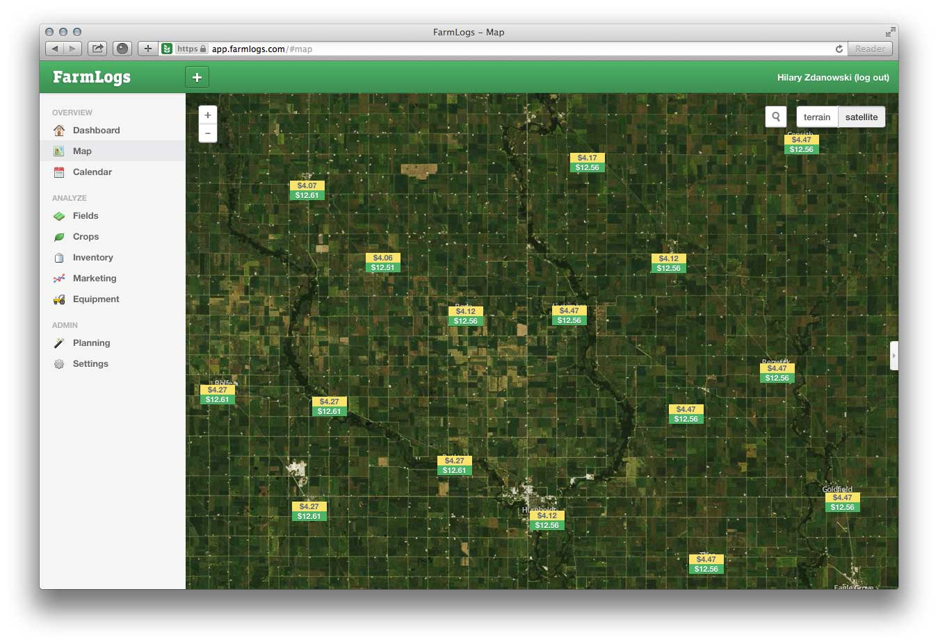 FarmLogs software maps a field in finances.