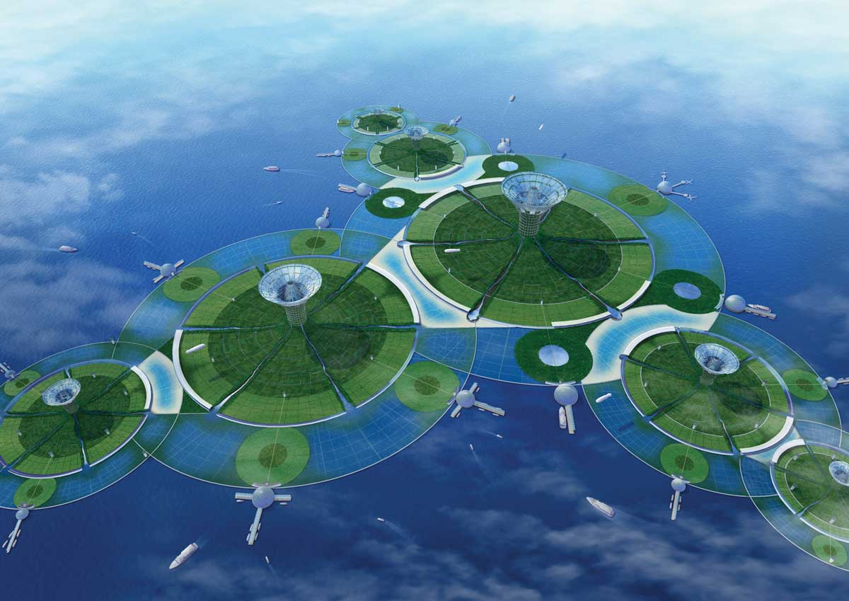 Designs for a floating 'lily pad city' from Japanese firm Shimizu.
