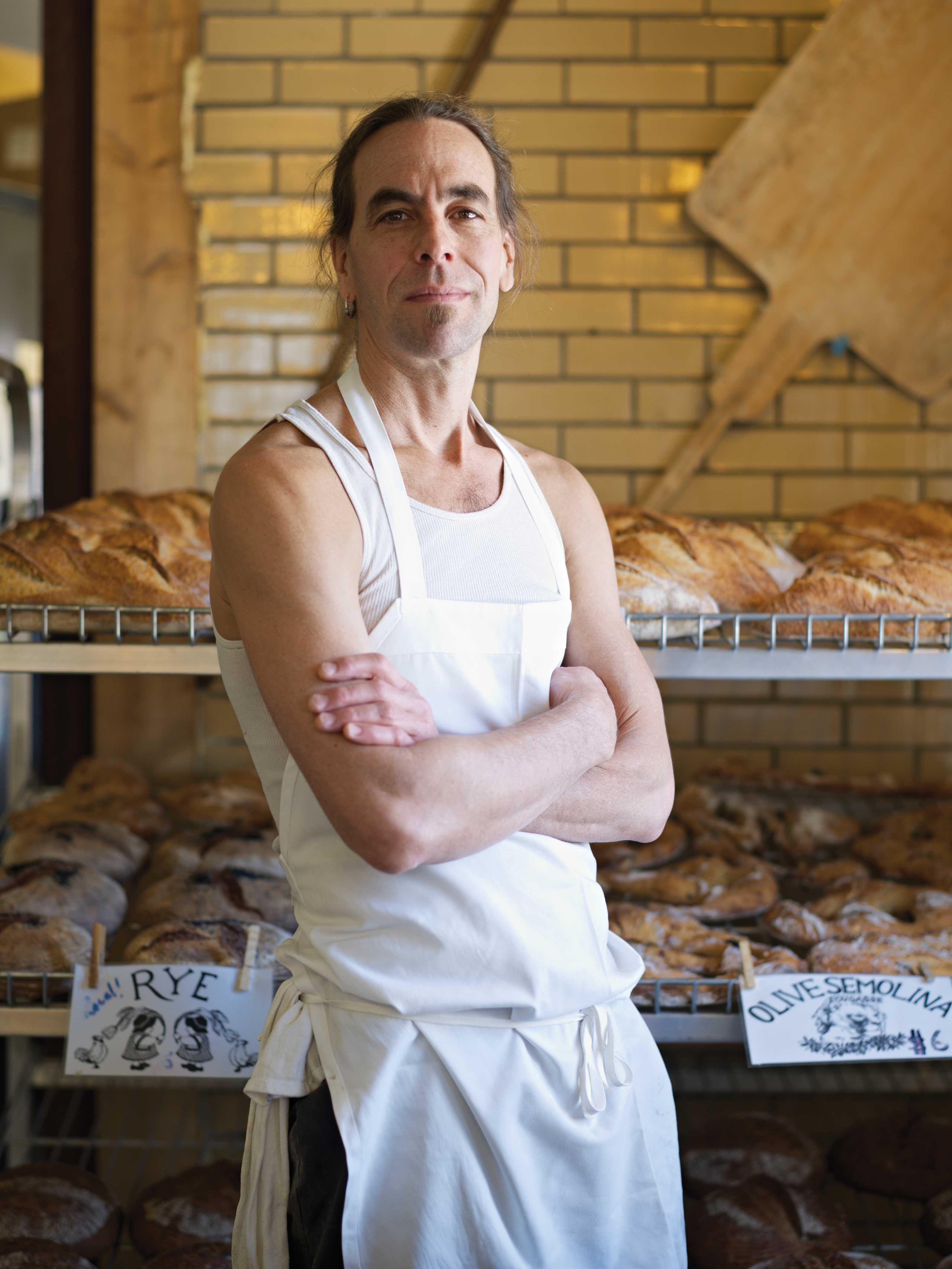 Jonathan Stevens bakes 2,000 loaves of bread a week, most of which contain flour from nearby Four Star Farms  -  and some of which are 100 percent local.