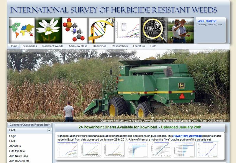 A screenshot of weedscience.org.
