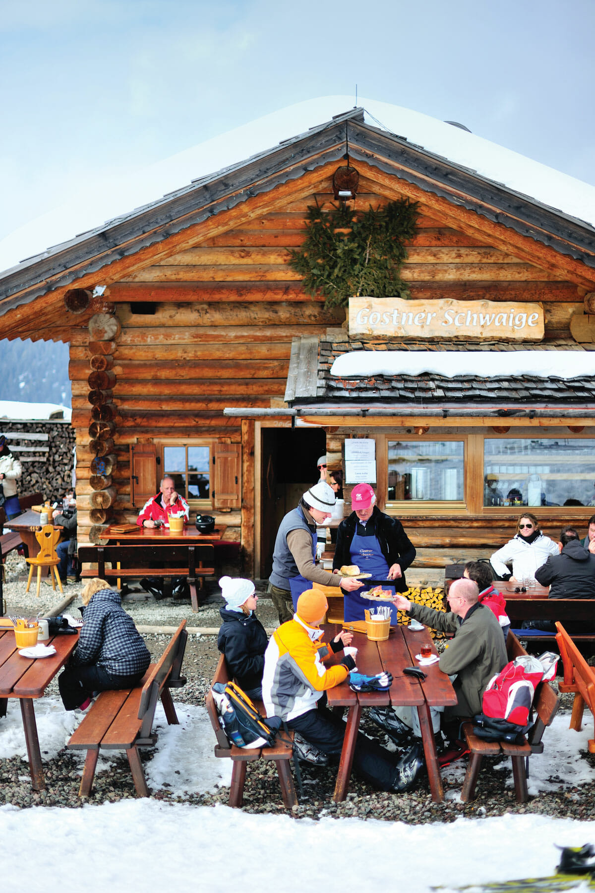 A view of the restaurant's entryway. During the day, hikers and skiiers eat simple fare, and at night more elaborate multicourse meals are served.