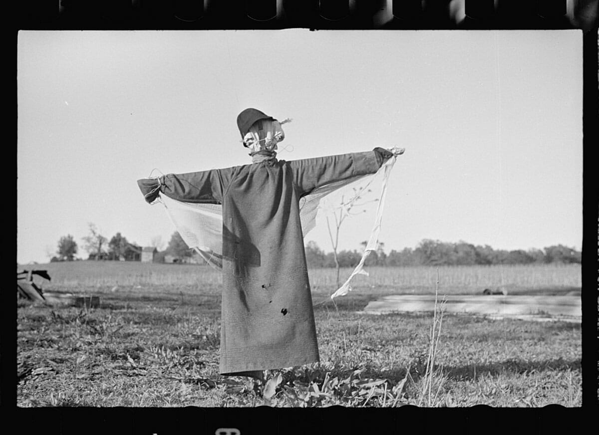 Scarecrow, North Carolina, 1938 by John Vachon courtesy of the Library of Congress.