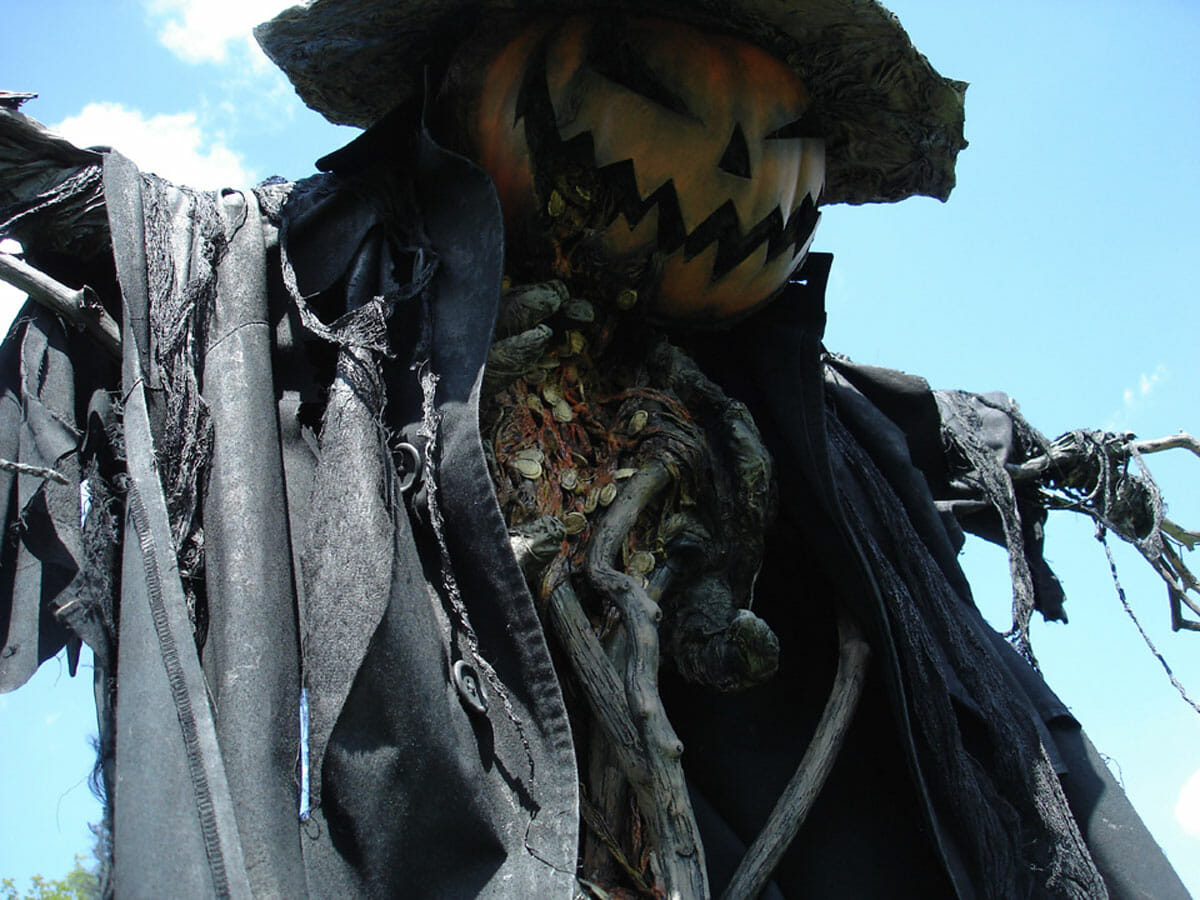 A scarecrow made by PumpkinRot, who works with materials such as roots and petrified branches.