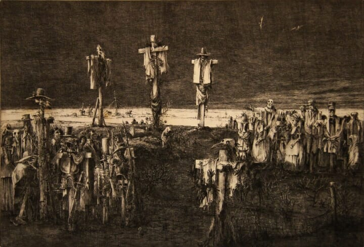 An etching by artist Jim Yarbrough that illustrates the similarity between images of scarecrows and crucifixion.