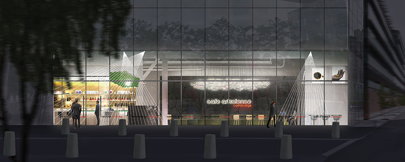 When you come into Le Lab Cambridge (here, seen as an artist's rendering), there will be a receptionist to greet and orient you. There will also be signs handwritten in chalk, pointing you toward talks, gallery exhibitions and products to buy or try. A hexagonal structure within the restaurant and bar will be for talks and food experiments.
