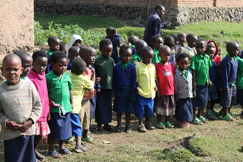 """A group shot of the preschoolers at Busogo """""""" outside their"""