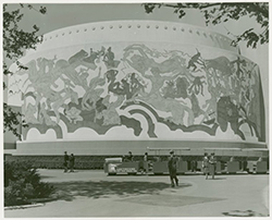 The mural on one of the Food Zone buildings depicting a plentiful harvest. / Courtesy NYPL Digital Archives.