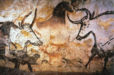On the walls of Lascaux Cave in France, in the Upper Paleolithic era (around 17,000 B.C.), early humans painted aurochs, which they hunted. / Courtesy Prof Saxx.