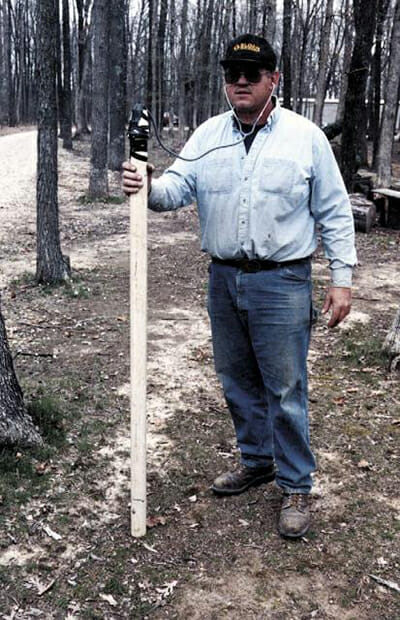 Mark Himes of Beecher City, Illinois with his homemade leak detector.