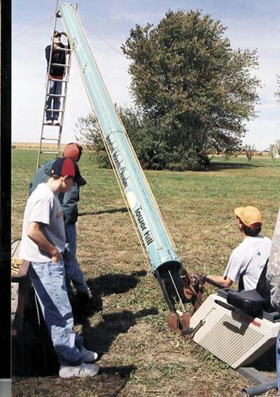 A homemade pumpkin launcher.