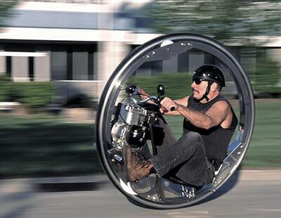 Kerry McLean's one-wheeled motorcycle.