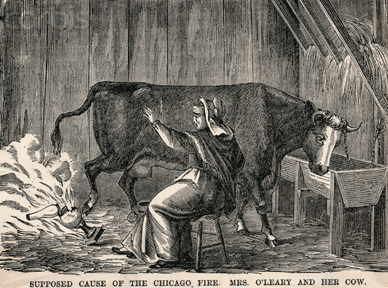 An 1871 illustration of Mrs. O'Leary and her cow from Harper's Magazine. / Courtesy Wikimedia Commons