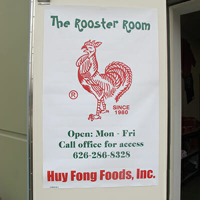 The entrance to Huy Fong Foods' gift shop: The Rooster Room.