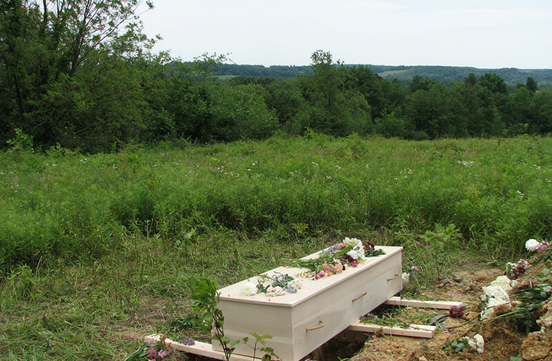 A grave at Foxfield Nature Preserve, a green cemetery on 43 acres of a former farm in Wilmot, Ohio. / Courtesy Foxfield Preserve.