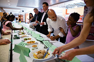 Judges, including Kass, score lunch recipes submitted by kids from around the country. / Courtesy the White House.