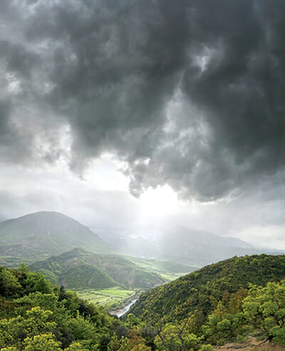 GjirokastÁ«r's dramatic landscape is framed by the GjerÁ« mountains. / Courtesy DDP Images.