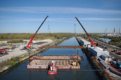 A barrier was constructed in the Chicago Sanitary and Ship Canal in Romeoville, Illinois, in hopes it would help dam the flow of carp. / Courtesy U.S Army / Jessica Vandrick