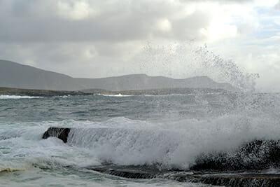 Winter waves break on Achill Island.