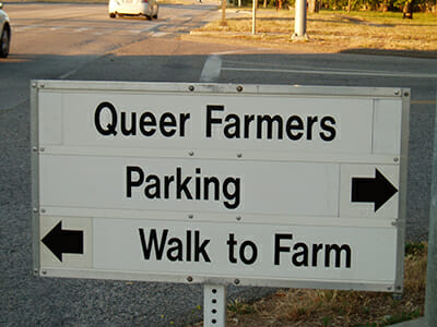 A sign at UC Santa Cruz farm for Queer Farmer Day. Courtesy Jonah Mossberg.