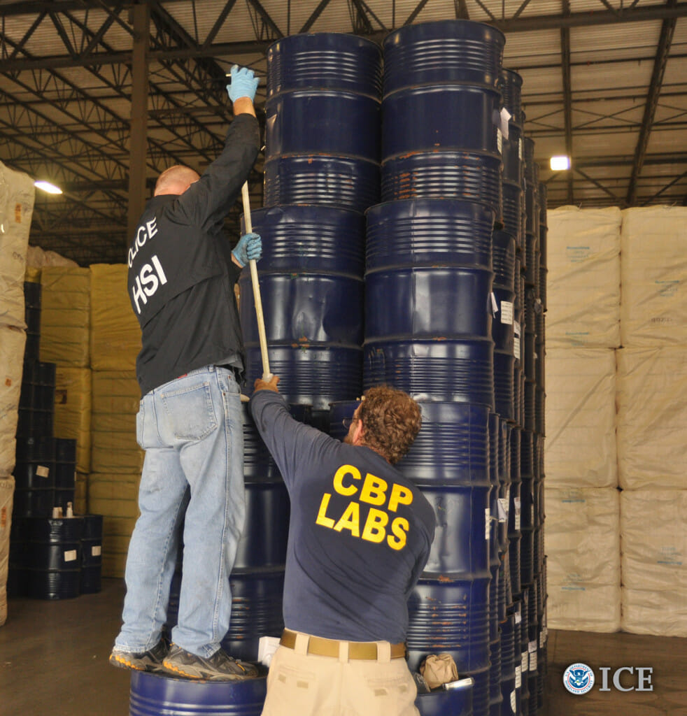660 barrels of Chinese honey confiscated by ICE agents in Houston that were labeled as originating from Latvia.