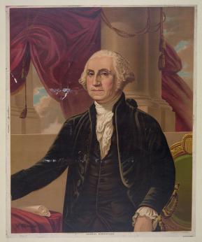 George Washington chromolithograph base on painting by Gilbert Stuart