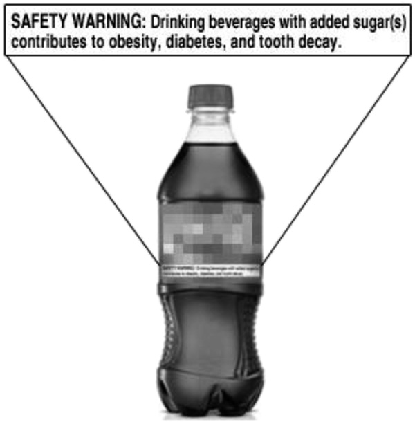 Sample beverage image with warning label. Color pictures of actual branded beverages were used in the survey.