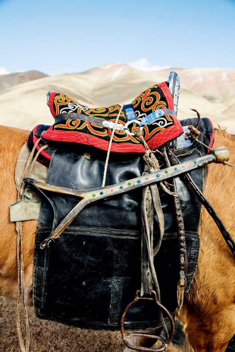 Mongolian hunters rely on baldaks - asthe wooden slingshot-like tool on this saddle is known - to support their arms when holding an eagle.