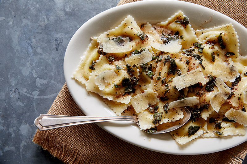 Butternut Squash And Spicy Sausage Ravioli In Brown Butter Sage