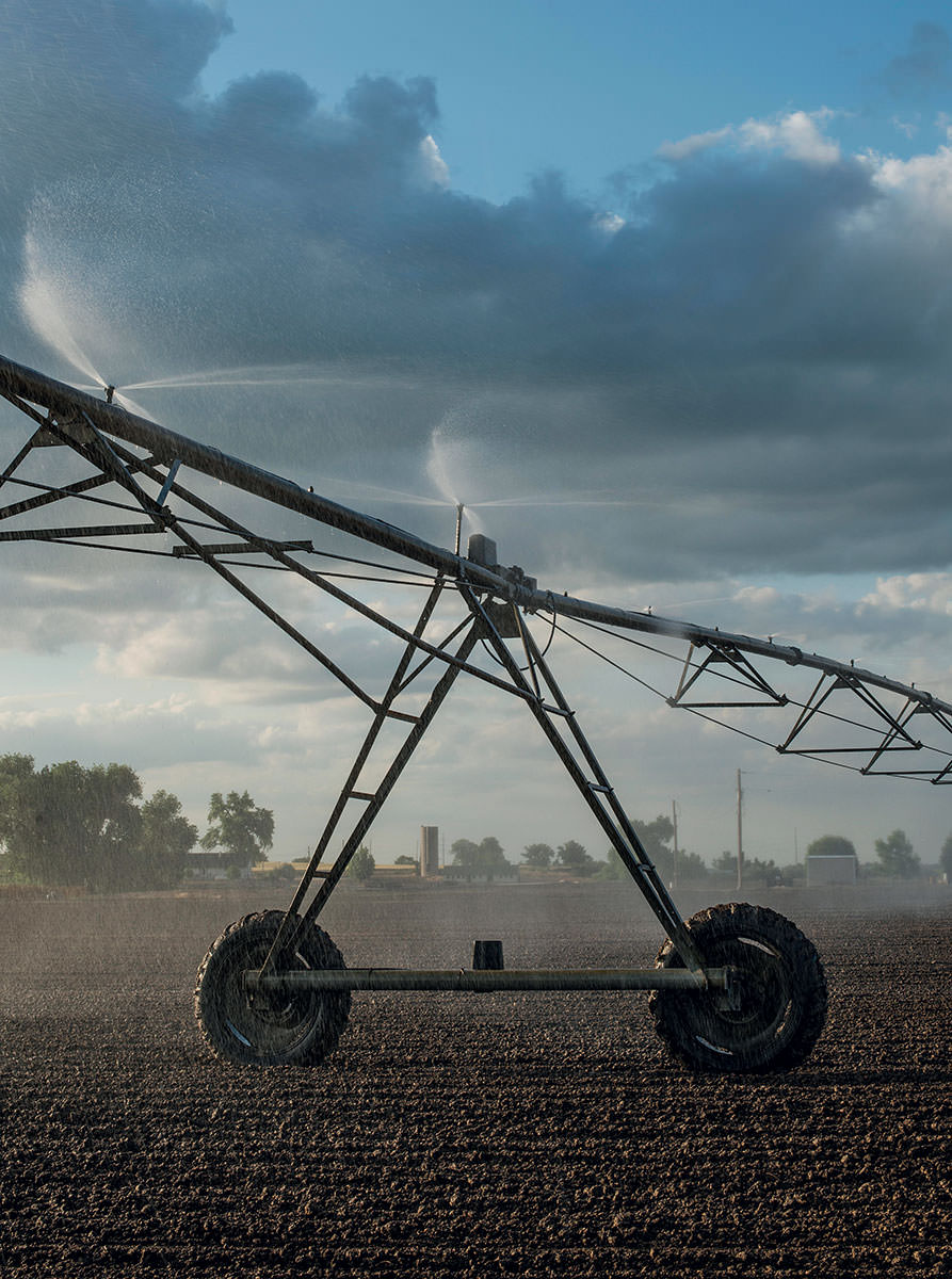 Robert Sakata uses this center-pivot system (basically a huge rotating sprinkler on wheels) to irrigate his 2,500 acres in Brighton, CO. The once-rural town has become a suburb of Denver, and while many farmers resent the development, Sakata sees an upside: