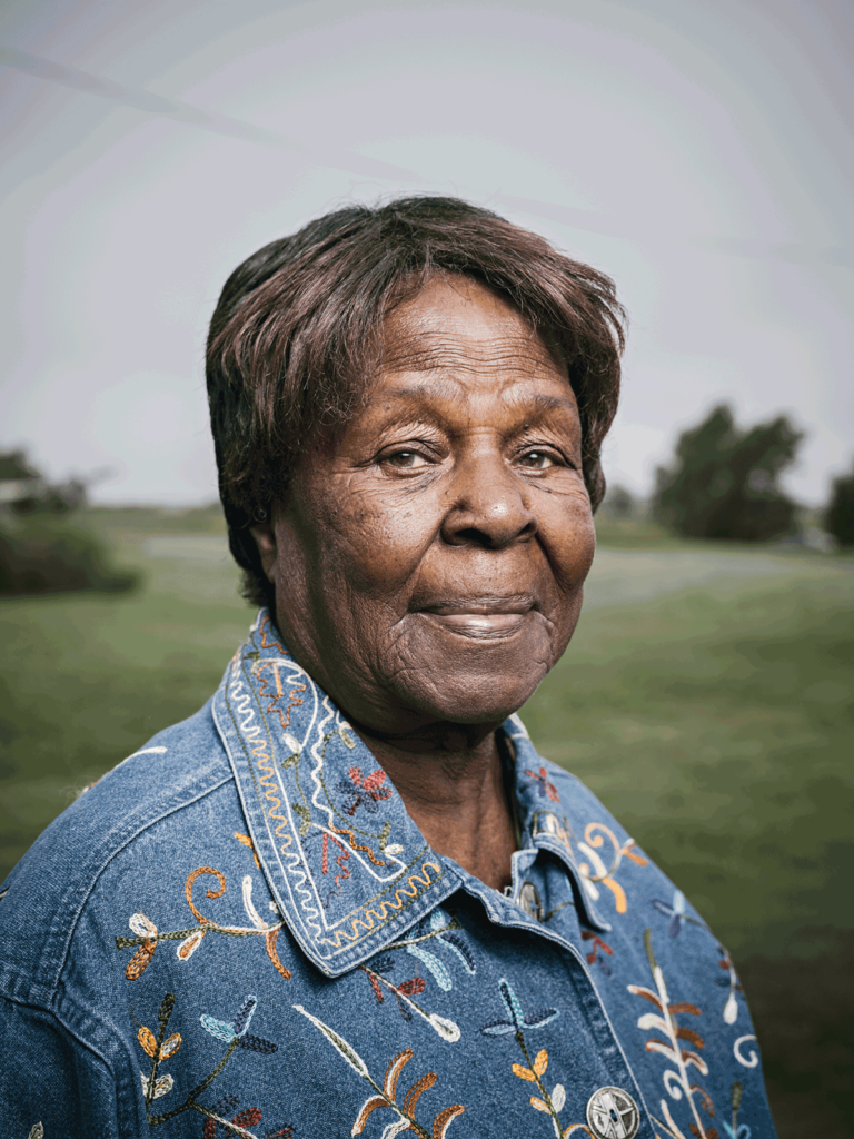 ABOVE Retired farmer Florence Howard is the granddaughter of George Moore and Effie Johnson, among the freed slaves who first migrated to the Kansas town.