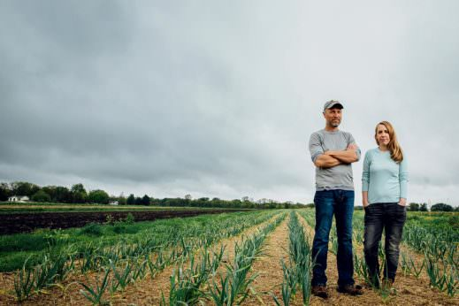 Andrew (left) and Melissa Dunham, both 37, operate an organic farm in Grinnell, IA, that has twice fallen victim to pesticide drift.